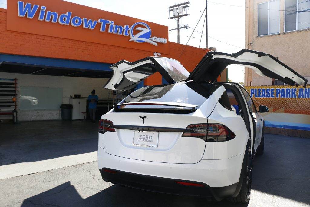 White Tesla Model X Chrome Delete Window Tint Z