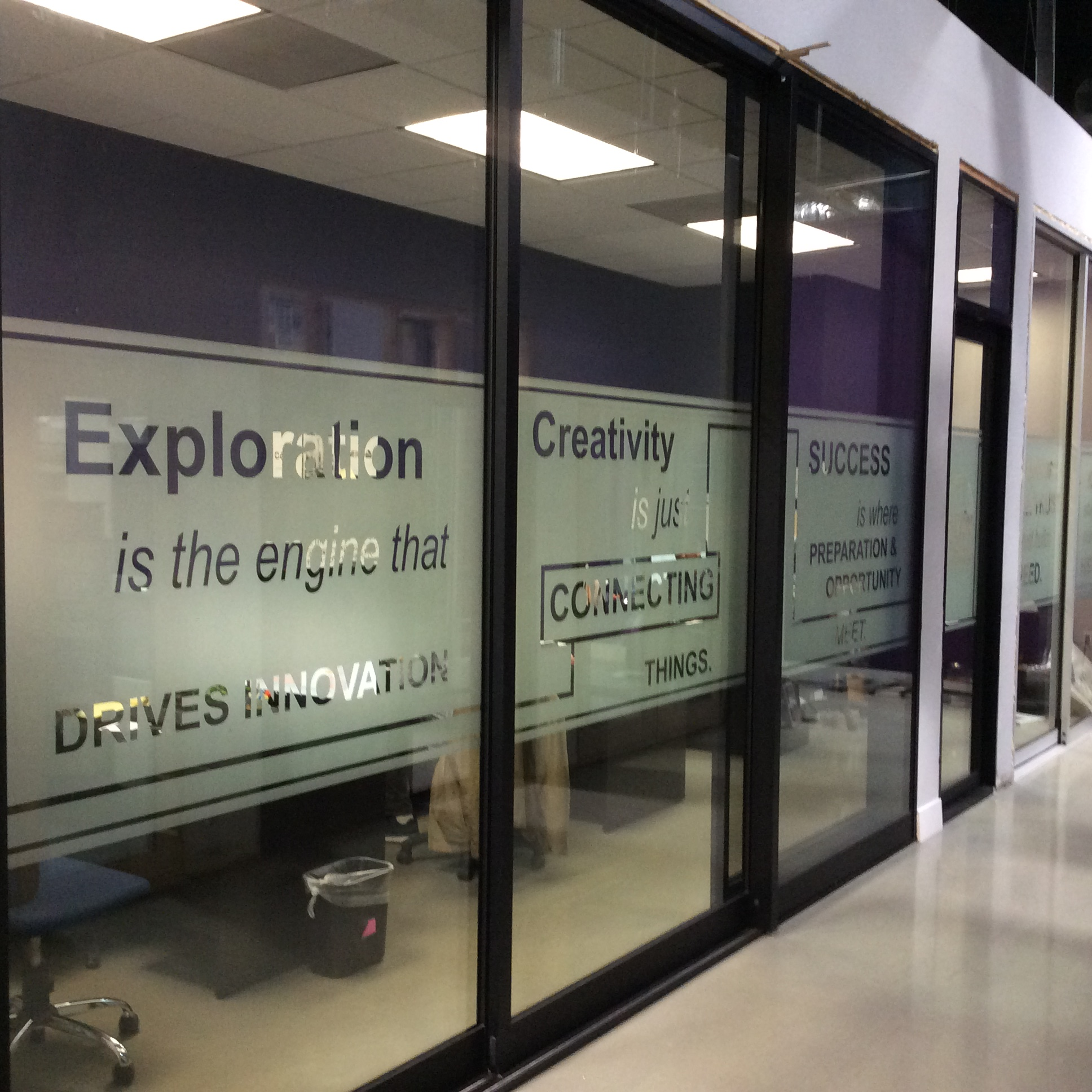 Frost Privacy Band with Custom Cutouts for Office Windows