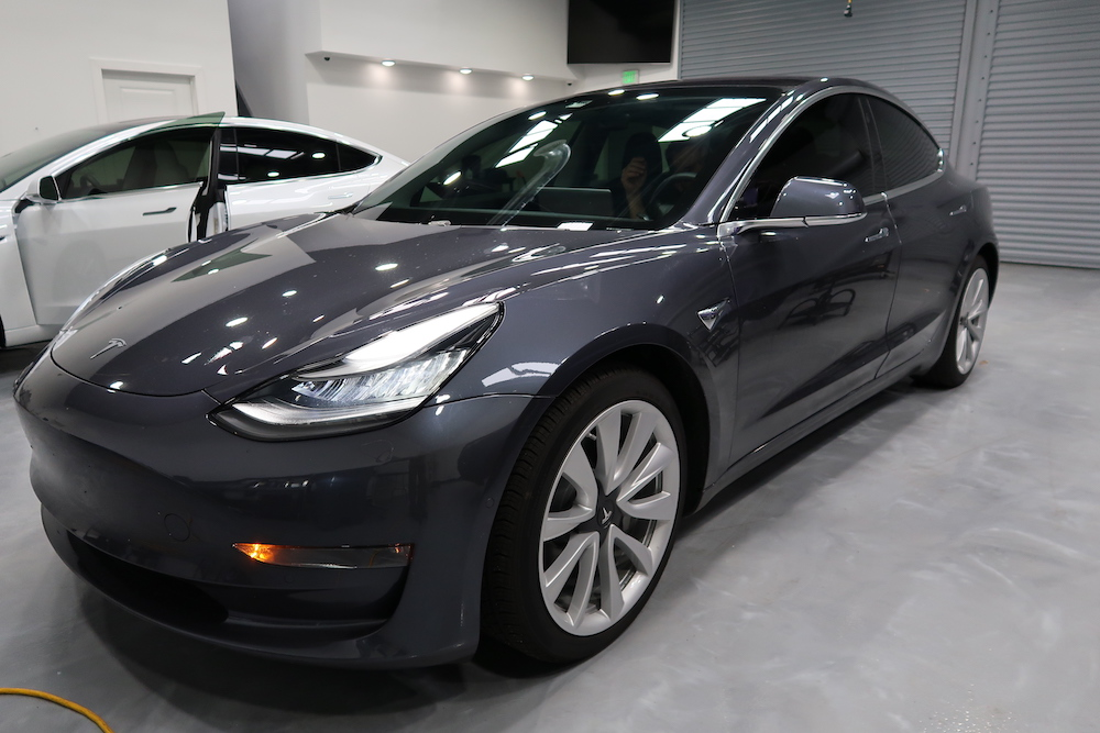 Grey 2019 Tesla Model 3 Windows Tinted With Ceramic Heat